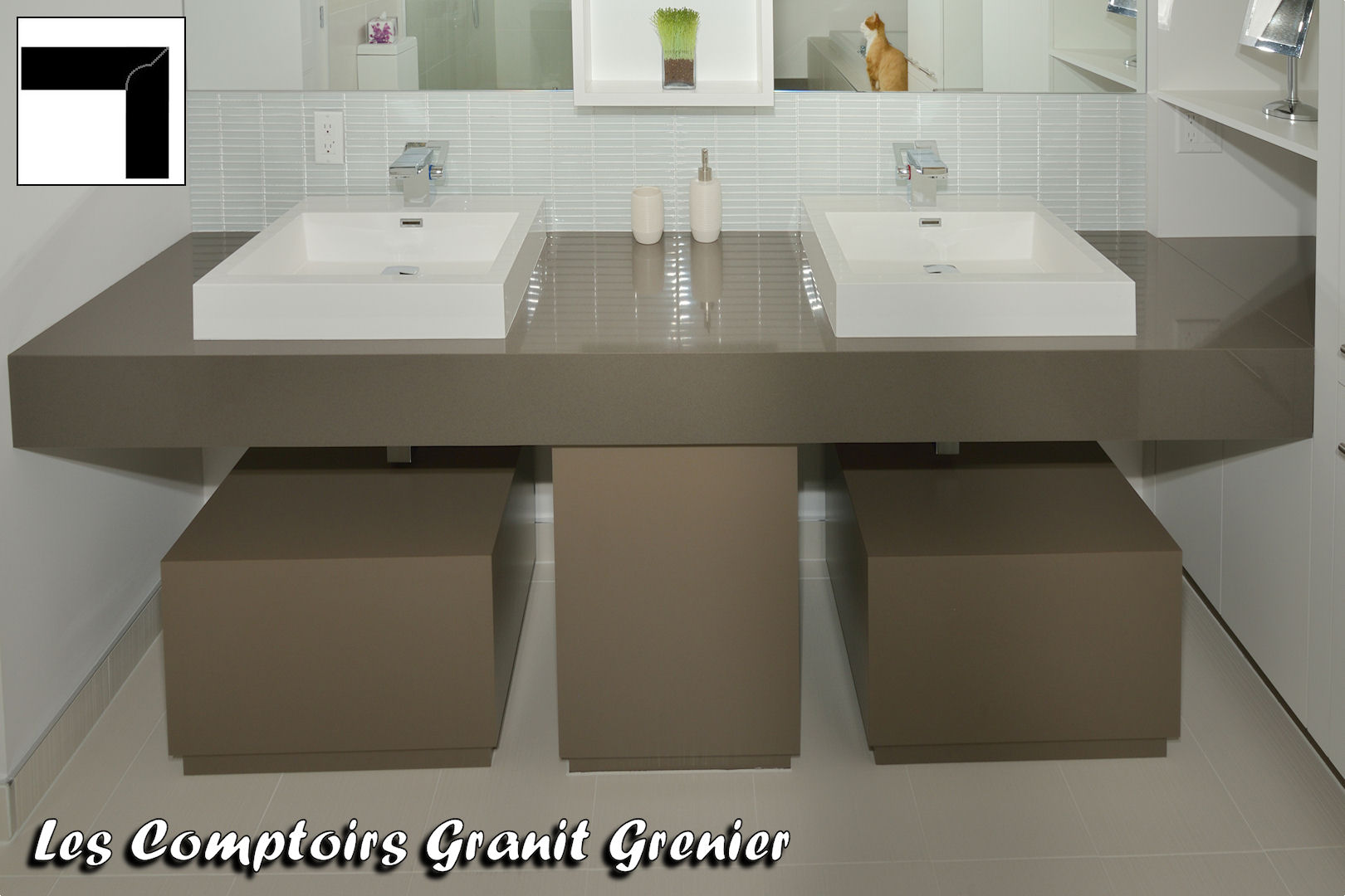 Comptoir de granit et quartz finitions disponibles for Comptoir salle de bain